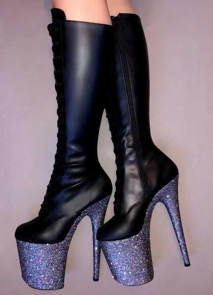 "8"" Gunmetal Knee High Boot Matte Black VEGAN Glitter Heels"