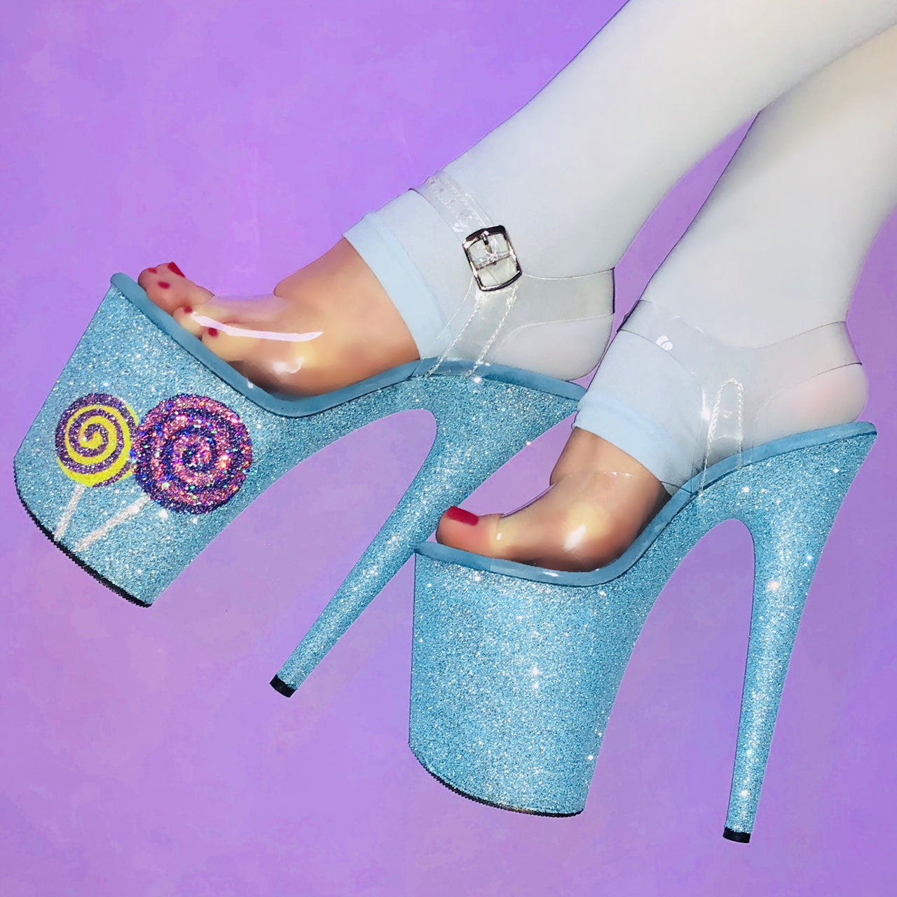 "8"" Lollipop Baby Blue Glitter Heels"