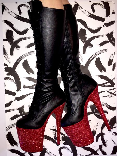 "8"" Fire Engine Knee High Boot Matte Black VEGAN Glitter Heels"
