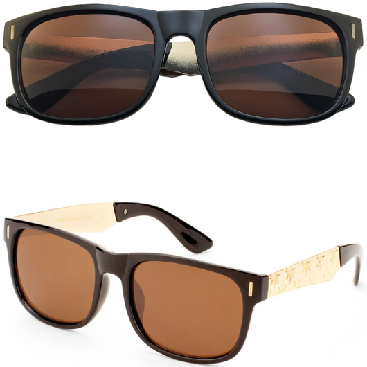 Horned Rim Sunglasses with Metal Leaf Imprint Legs