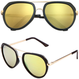 Aviator Sunglasses with Flat Top and Flat Color Mirror Lens