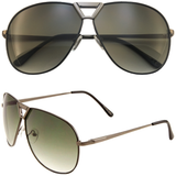 Aviator Sunglasses with Metal Frame and Accented Bridge