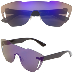 Rimless Sunglasses with Color Mirror Lens