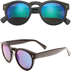 Retro Horned Rim Sunglasses with Rounded Color Mirror Lens