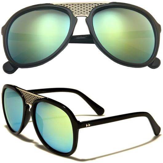 Aviator Sunglasses with Color Lens and Metal Bridge