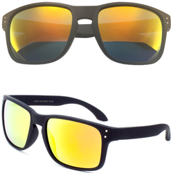 Horned Rim Sunglasses with Color Mirror Lens