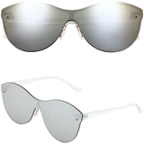Cat Eye Rimless Sunglasses with One Piece Flat Lens