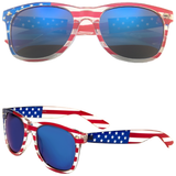 Horned Rim American Flag Sunglasses with Color Lens
