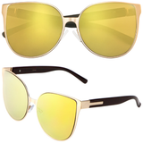 Large Cat Eye Sunglasses with Flat Color Mirror Lens