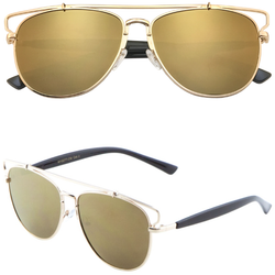 Aviator Sunglasses with Metal Brow Bar