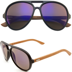Aviator Sunglasses with Mirrored Color Lens and Wooden Bamboo Legs