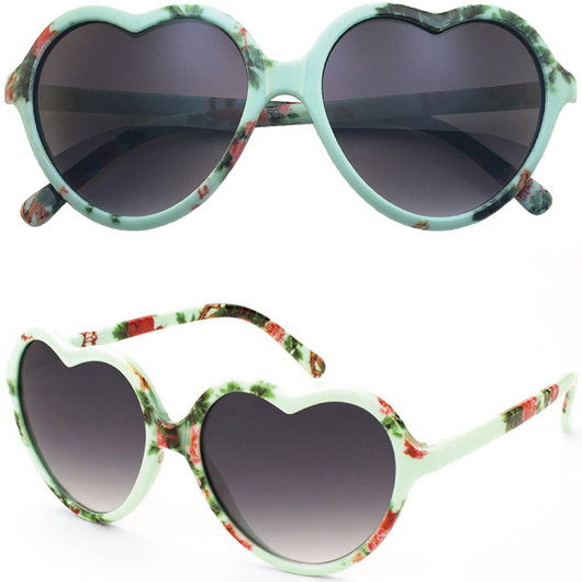5b62343fbd Heart Shaped Sunglasses with Floral Print – Shades Monthly