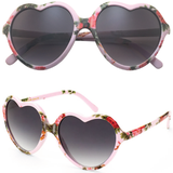 Heart Shaped Sunglasses with Floral Print