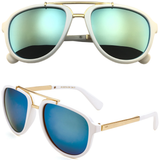 Aviator Sunglasses with Color Mirror Lens and Metal Bridge