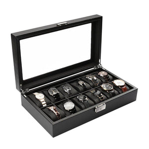 Home - 12 Slot Luxury Carbon Fiber And Leather Watch Display Box