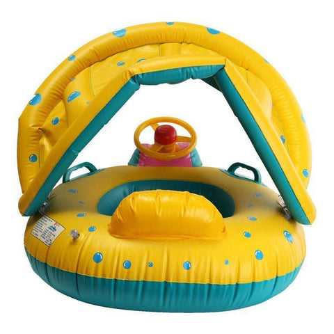 Pool Floats - Baby's Shaded Car Inflatable Pool Float