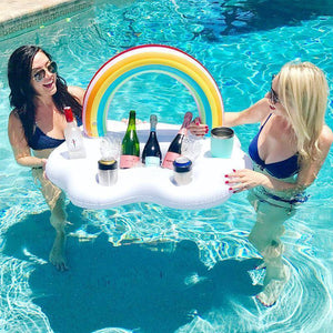 Pool Floats - Rainbow Cloud Ice Bucket / Drink, Cup Holder Inflatable Pool Float