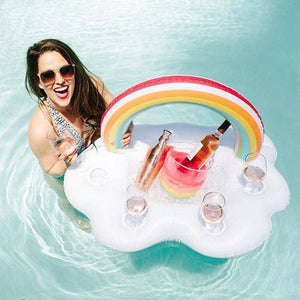 Rainbow Cloud Ice Bucket / Drink, Cup Holder Inflatable Pool Float