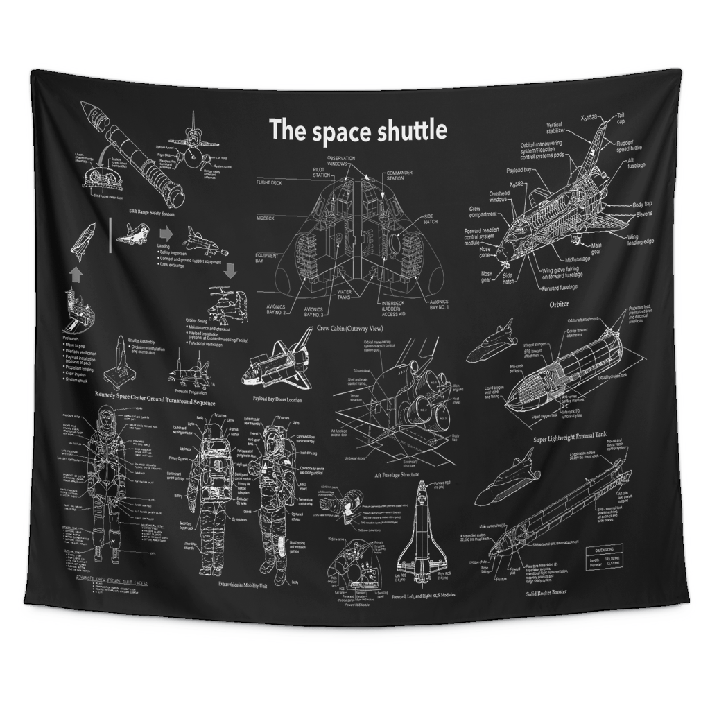 Tapestries - NASA Space Shuttle Blueprint Tapestry