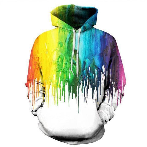 Tops - 3D Clumpy Paint On White Hoodie