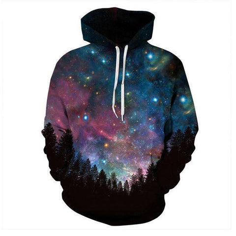 Tops - 3D Forest Blue Constellation Hoodie