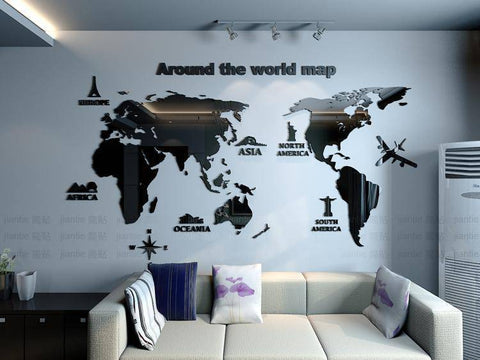 Wall Stickers - Around The World Map Wall Sticker Decal