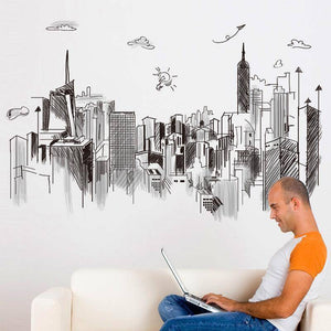 Wall Stickers - City Skyline Vista Wall Sticker Decal