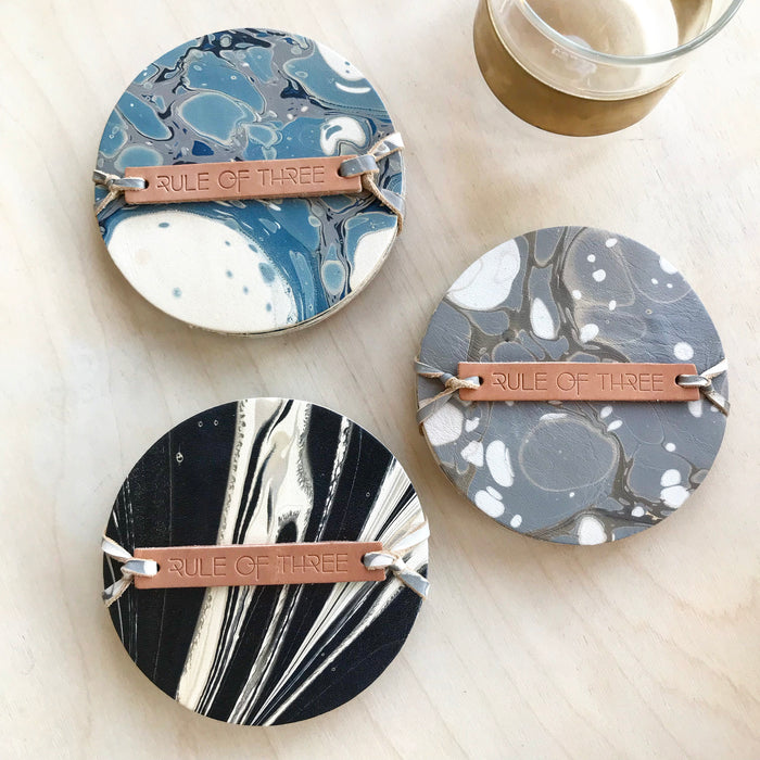 Rule of Three Marble Leather Coasters