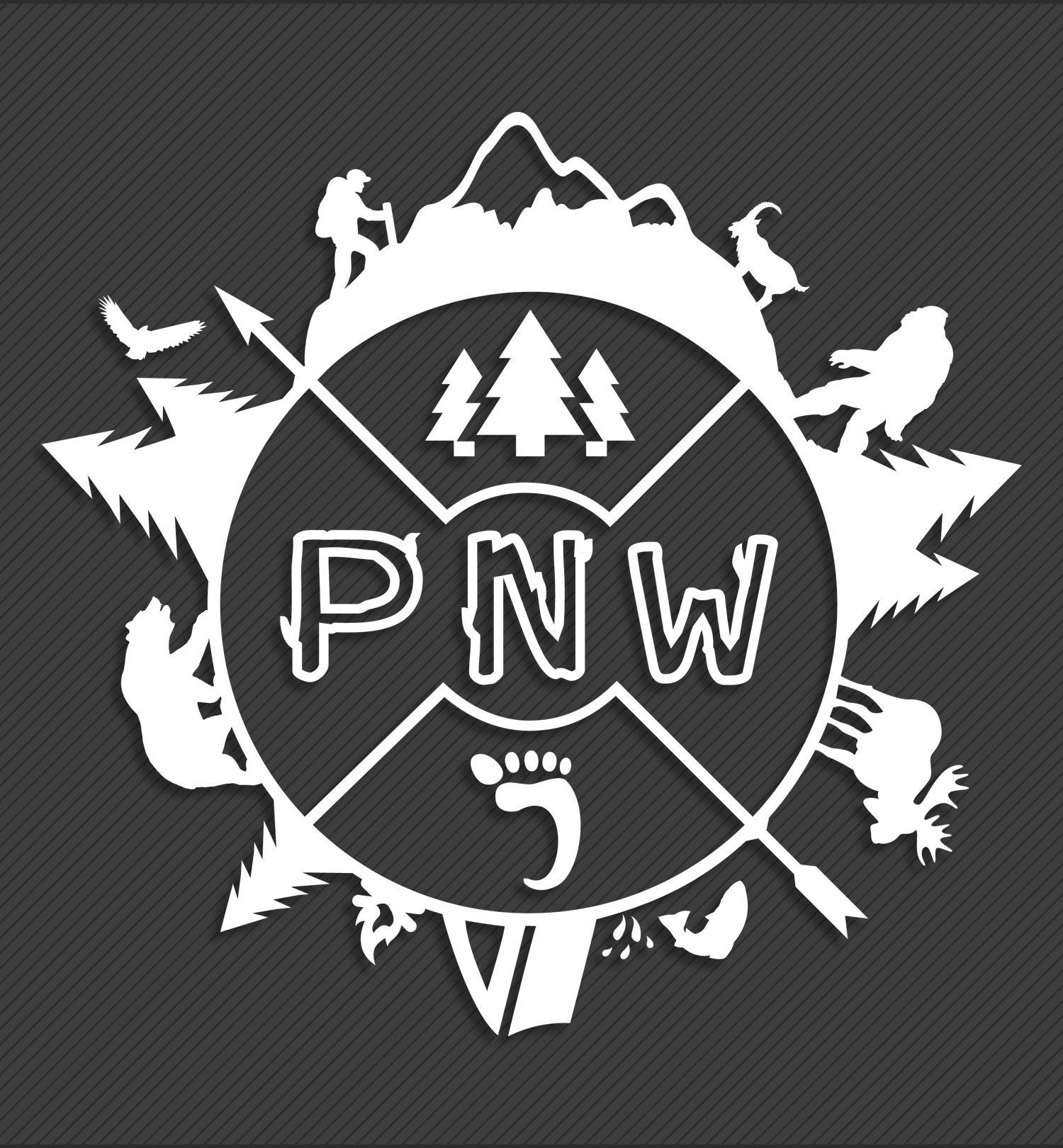 Around the PNW - Accessory - Decal - White - 8 Inch - PNW Journey