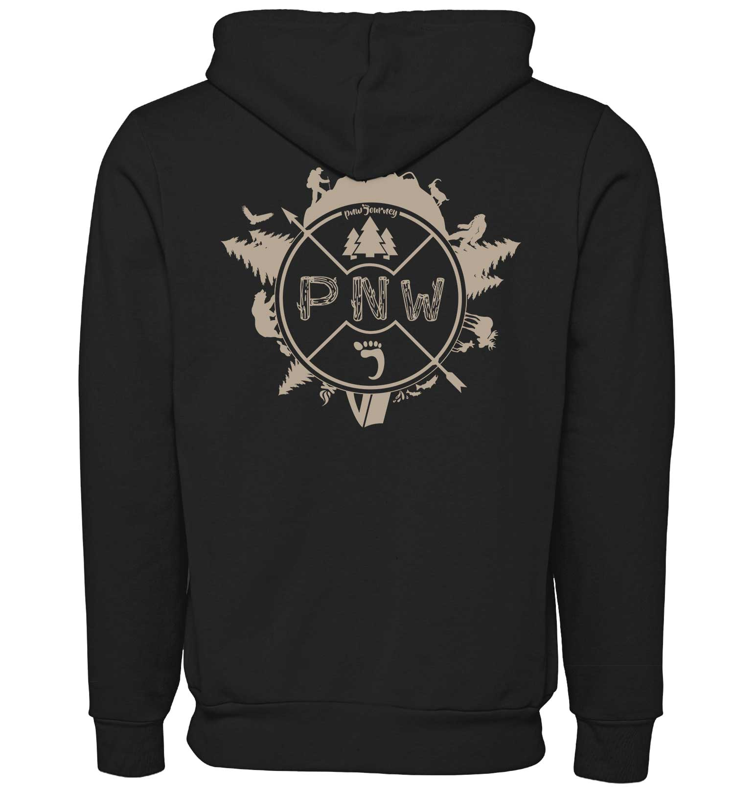 Around the PNW - Sweatshirt - Zip Hoodie - Black - Combined - PNW Journey