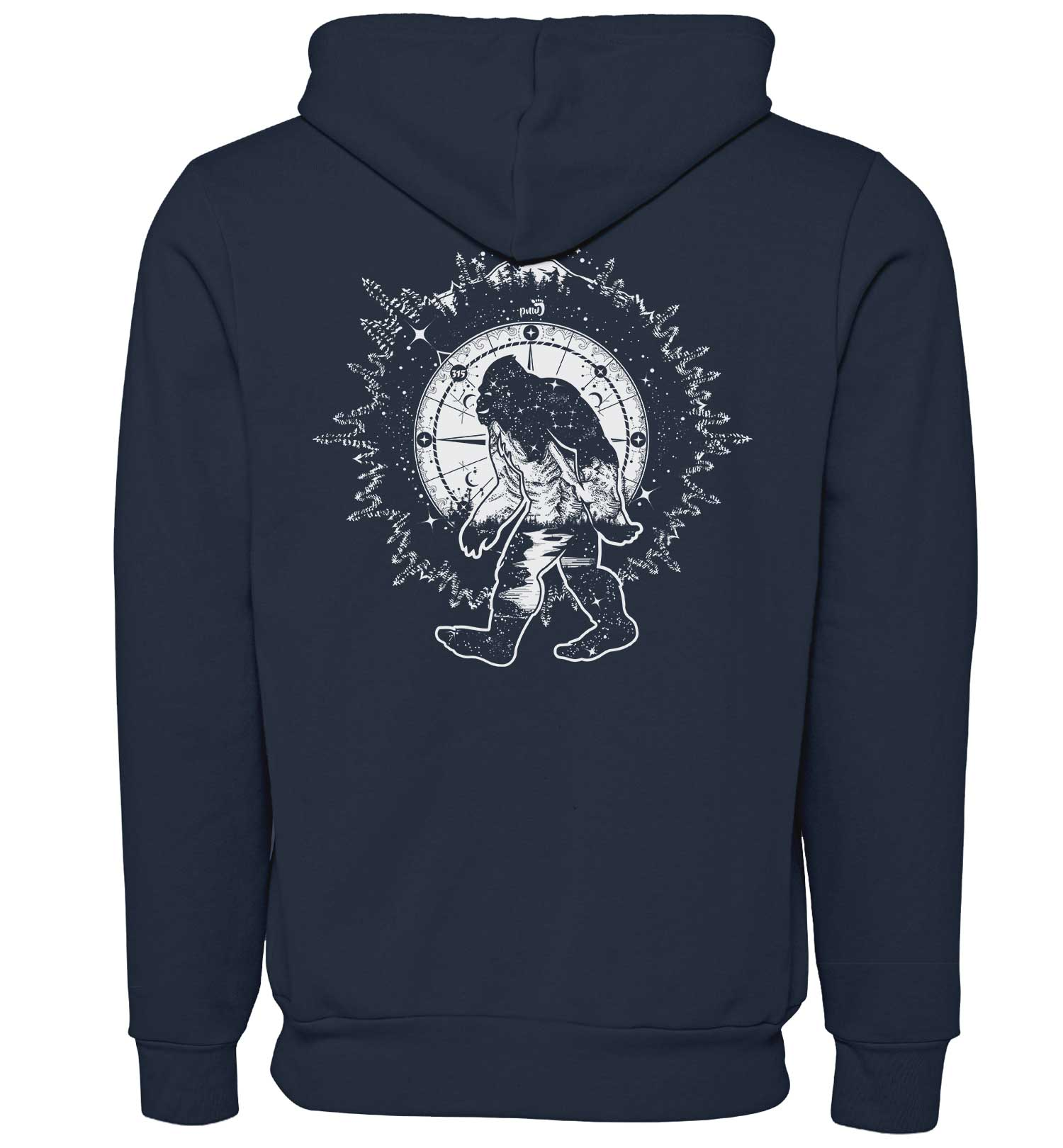 Bigfoot Nights - Sweatshirt - Zip Hoodie - Navy - Combined - PNW Journey