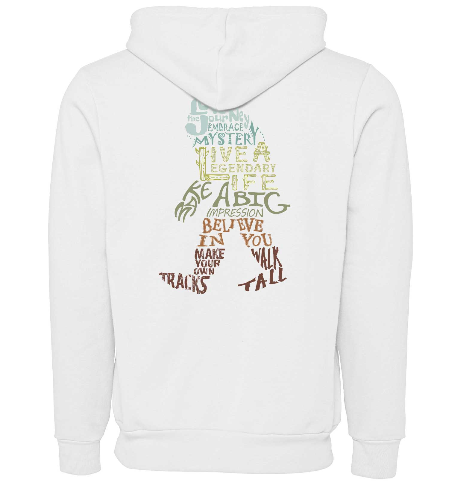 Bigfoot Wisdom - Sweatshirt - Zip Hoodie - White - Back - PNW Journey