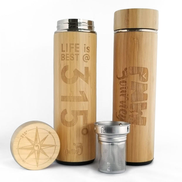 PNW Journey Bamboo Water Bottle/Infuser (18oz) 1