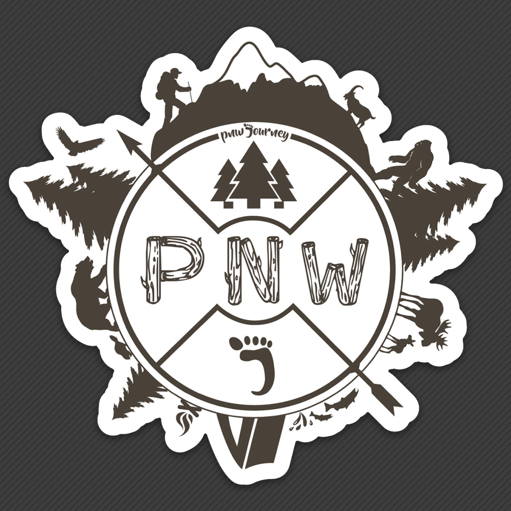PNW Sticker - Around the PNW - Brown