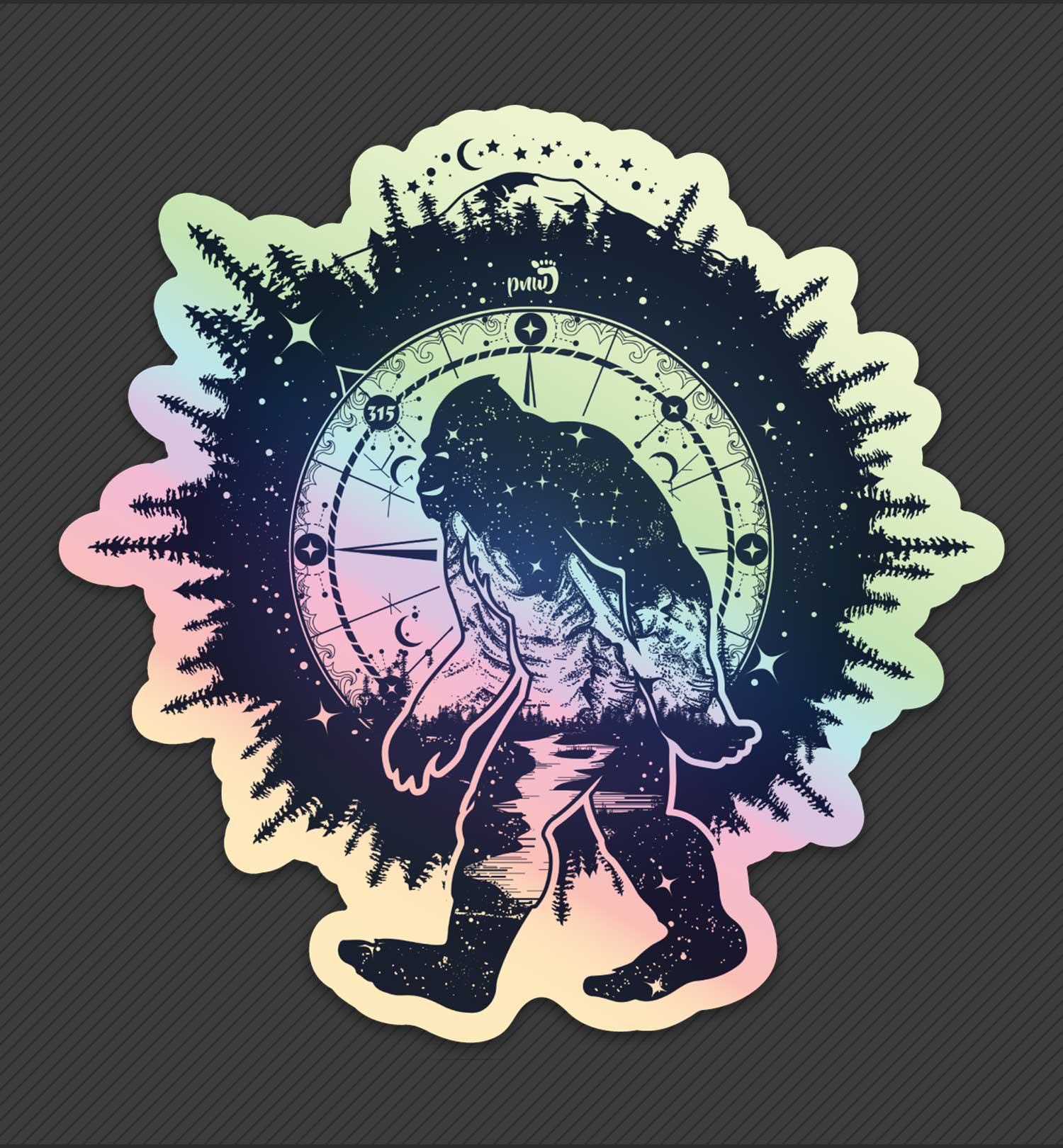 PNW Sticker - Bigfoot Nights Holographic