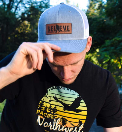 Bigfoot Believe - Hat - 6 Panel - Lifestyle - Grey White - PNW Journey