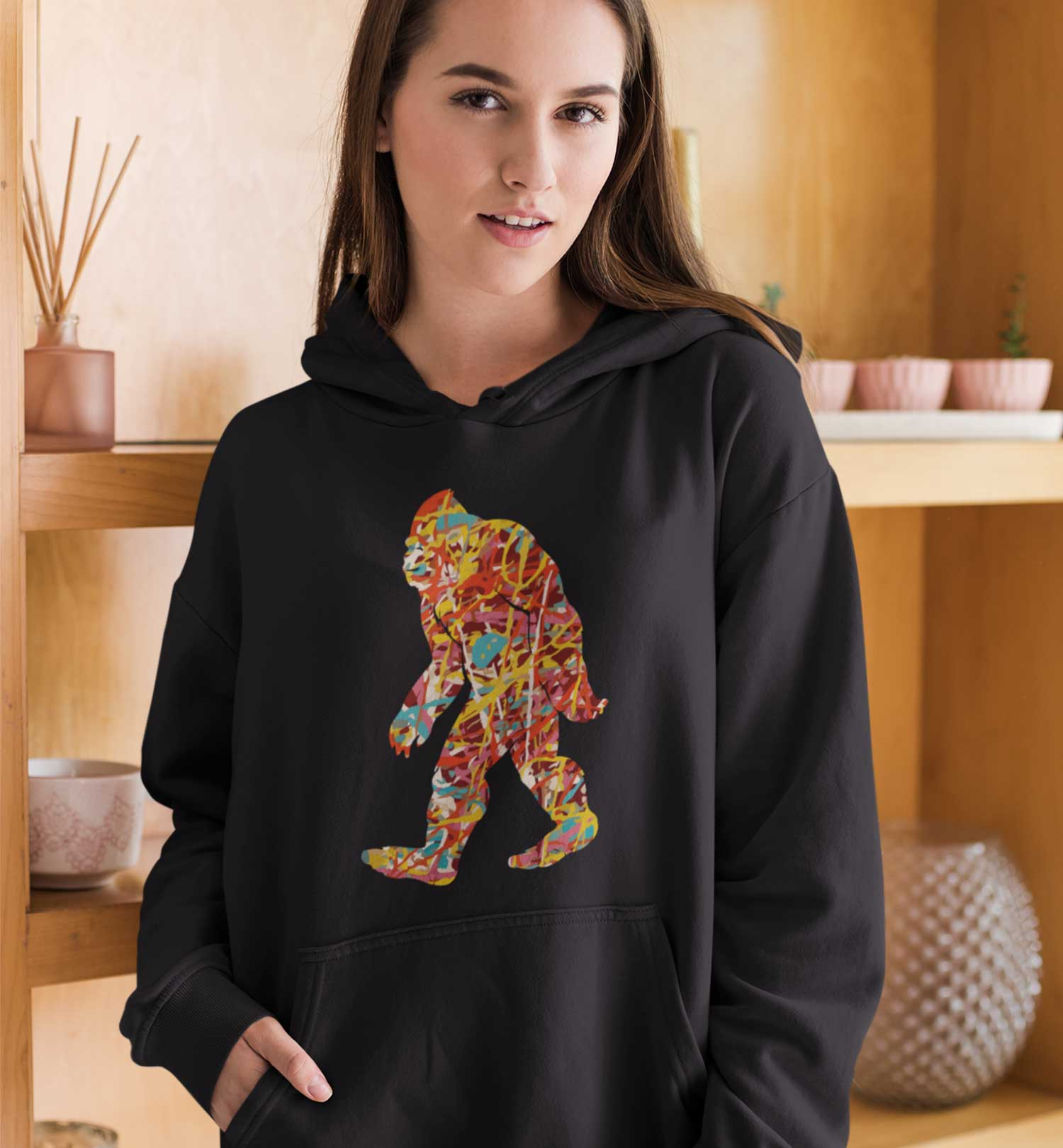 PNW Journey Sweatshirt - Hoodie - Pollock Bigfoot - Black Lifestyle
