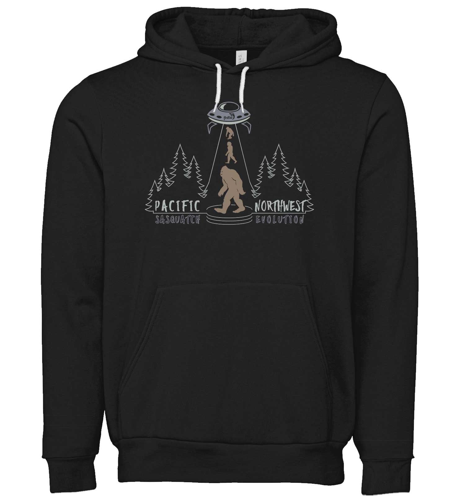 Sasquatch Evolution - Sweatshirt - Hoodie - Black - Front - PNW Journey