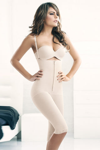 Izabella Nude Strappy Zipper Body Shaper Corset with Long Pants