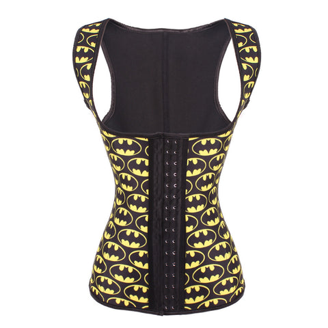 9 STEEL BONED BATMAN LATEX WAIST TRAINER VEST WITH STRAPS - waistshaper