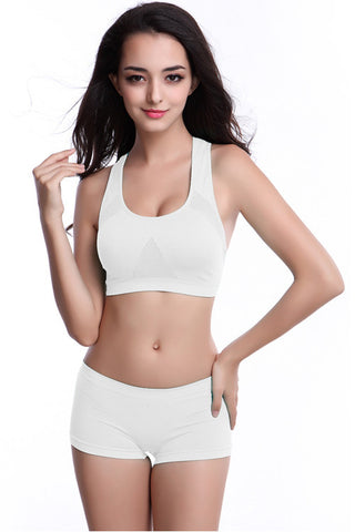 White Hollow Out Sports Bra
