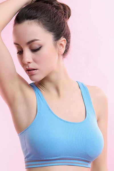 Ladies Blue Padded Sports Bra - waistshaper