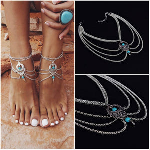 Silver and Turquoise Boho Anklet - Lot 33