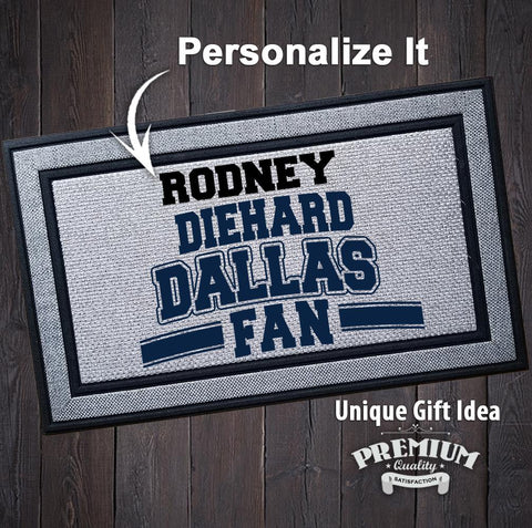 Image of Personalized Diehard Dallas Football Fan Indoor/Outdoor Door Mat