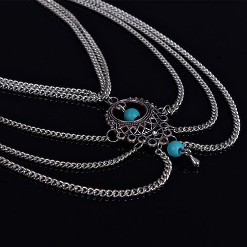 Image of Silver and Turquoise Boho Anklet - Lot 33