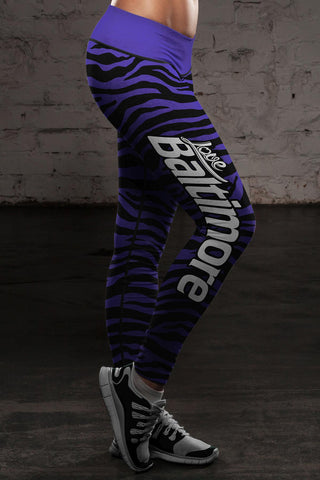 Image of Baltimore Football Striped Leggings