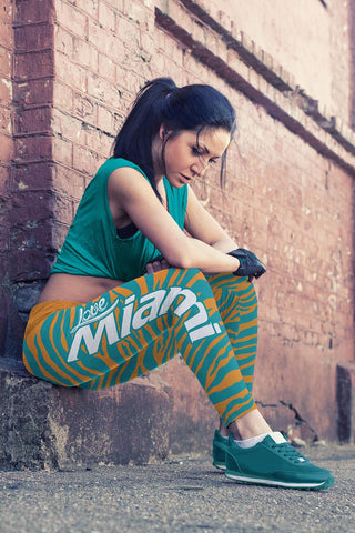 Image of Miami Football Striped Leggings