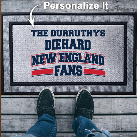 Personalized Diehard New England Football Fan Indoor/Outdoor Door Mat
