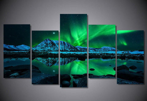 Image of Northern Lights Aurora Borealis 5-Piece Wall Art Canvas