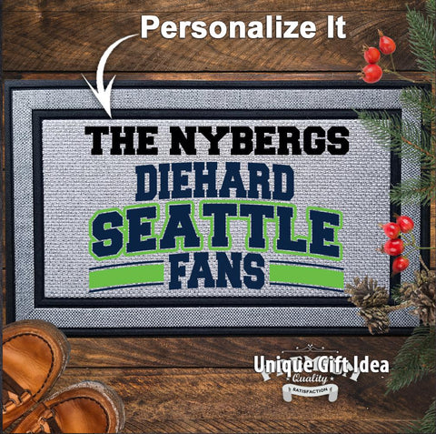Personalized Diehard Seattle Football Fan Indoor/Outdoor Door Mat